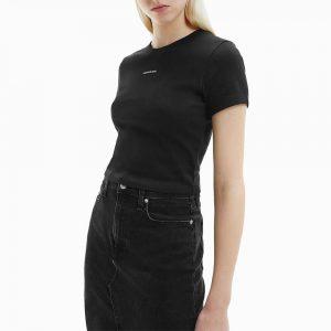 חולצת T קלווין קליין לנשים Calvin Klein Micro Branding Crop Rib Top - שחור