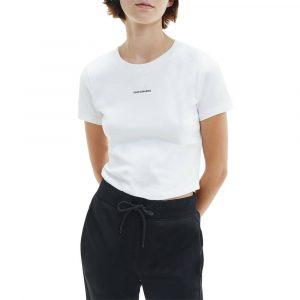 חולצת T קלווין קליין לנשים Calvin Klein Micro Branding Crop Rib Top - לבן