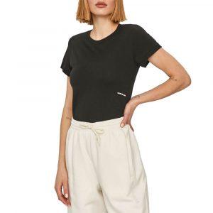 חולצת T קלווין קליין לנשים Calvin Klein Micro Branding Off Placed Tee - שחור