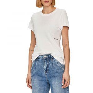 חולצת T קלווין קליין לנשים Calvin Klein Micro Branding Off Placed Tee - לבן