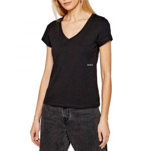 חולצת T קלווין קליין לנשים Calvin Klein Micro Branding Off - שחור