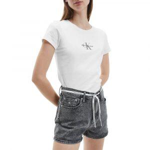 חולצת T קלווין קליין לנשים Calvin Klein Monogram Classic Slim Tee - לבן