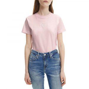 חולצת T קלווין קליין לנשים Calvin Klein Monogram Logo Tee - ורוד