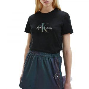 חולצת T קלווין קליין לנשים Calvin Klein Reflective Monogram Tee - שחור