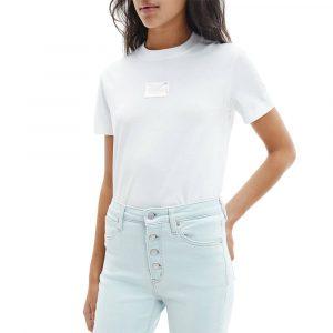 חולצת T קלווין קליין לנשים Calvin Klein Shine Badge Tee - לבן