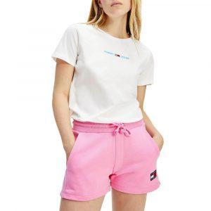 חולצת T טומי הילפיגר לנשים Tommy Hilfiger Embroidery Slim Fit - לבן