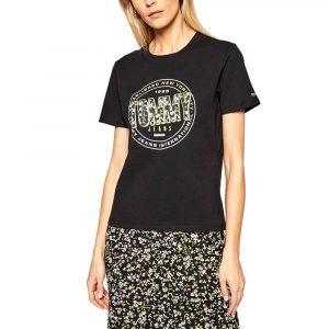 חולצת T טומי הילפיגר לנשים Tommy Hilfiger Floral Print - שחור