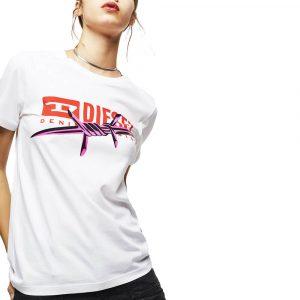חולצת T דיזל לנשים DIESEL FLUO PRINT - לבן