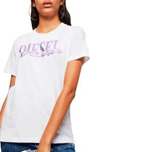 חולצת T דיזל לנשים DIESEL FOIL LOGO - לבן