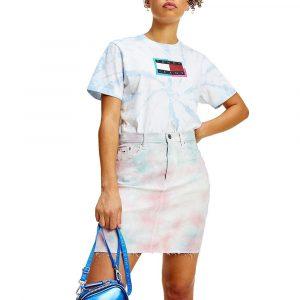 חולצת T טומי הילפיגר לנשים Tommy Hilfiger TIE DYE RELAXED - לבן