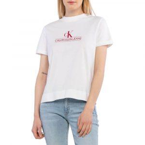 חולצת T קלווין קליין לנשים Calvin Klein ARCHIVES ECO - לבן