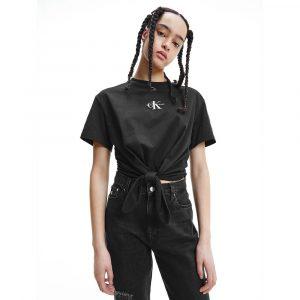 חולצת T קלווין קליין לנשים Calvin Klein ORGANIC COTTON KNOTTED - שחור