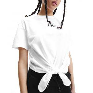חולצת T קלווין קליין לנשים Calvin Klein ORGANIC COTTON KNOTTED - לבן