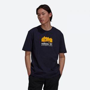 חולצת T אדידס לגברים Adidas Originals Adventure Logo - שחור