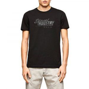 חולצת T דיזל לגברים DIESEL Industry Team Print - שחור