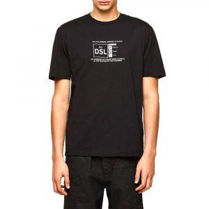 חולצת T דיזל לגברים DIESEL Reflective Logo Print - שחור