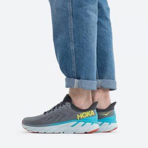 נעלי ריצה הוקה לגברים Hoka One One Clifton 7 - אפור