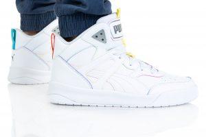 נעלי סניקרס פומה לגברים PUMA BACKCOURT MID RAINBOW - לבן