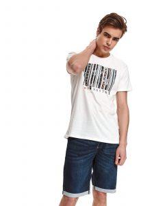 חולצת T טופ סיקרט לגברים TOP SECRET BARCODE - לבן
