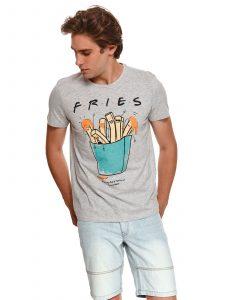חולצת T טופ סיקרט לגברים TOP SECRET FRIES - אפור