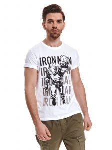 חולצת T טופ סיקרט לגברים TOP SECRET IRONMAN - לבן