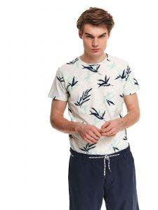 חולצת T טופ סיקרט לגברים TOP SECRET Leaves - לבן