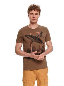 חולצת T טופ סיקרט לגברים TOP SECRET Thewhale - חום