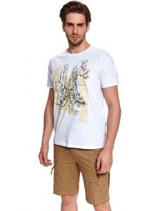 חולצת T טופ סיקרט לגברים TOP SECRET Town - לבן