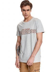 חולצת T טופ סיקרט לגברים TOP SECRET crow - אפור בהיר