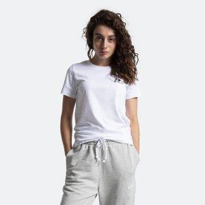 חולצת T קונברס לנשים Converse Stacked Logo Left Ches - לבן