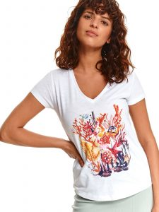 חולצת T טופ סיקרט לנשים TOP SECRET FIRE - לבן