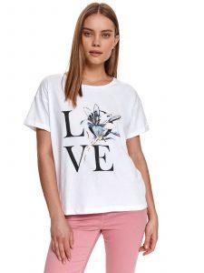 חולצת T טופ סיקרט לנשים TOP SECRET LOVE - לבן