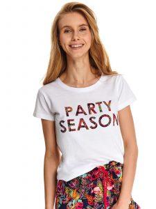 חולצת T טופ סיקרט לנשים TOP SECRET Party - לבן