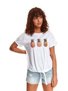 חולצת T טופ סיקרט לנשים TOP SECRET pineapple - לבן