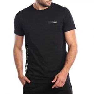חולצת T ריפליי לגברים REPLAY LOGO - שחור/לבן