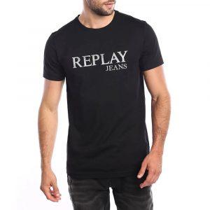חולצת T ריפליי לגברים REPLAY Metallic logo - שחור