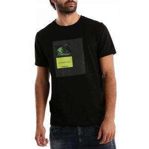 חולצת T ריפליי לגברים REPLAY Green eye - שחור
