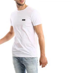 חולצת T ריפליי לגברים REPLAY plata logo - לבן