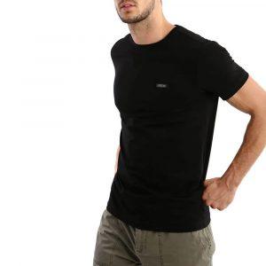 חולצת T ריפליי לגברים REPLAY plata logo - שחור