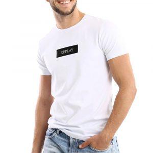חולצת T ריפליי לגברים REPLAY Silicon logo - לבן