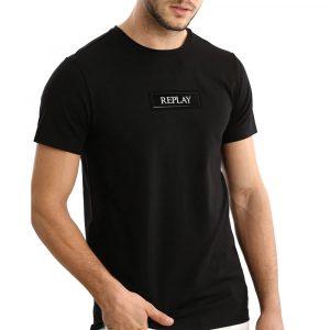 חולצת T ריפליי לגברים REPLAY Silicon logo - שחור