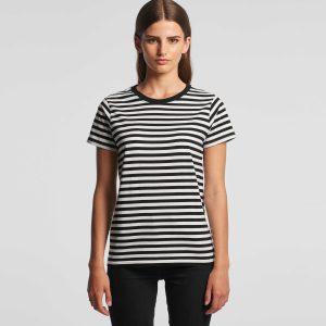 חולצת T אס קולור לנשים As Colour MAPLE STRIPE - לבן/אדום