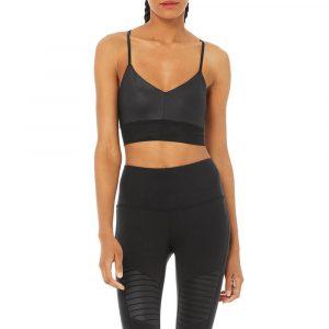 טופ וחולצת קרופ אלו יוגה לנשים Alo Yoga Lavish Bra - שחור