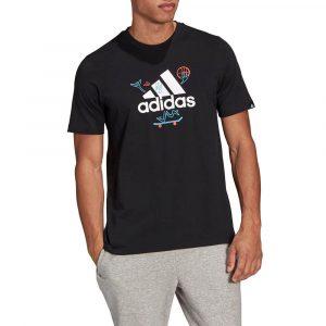 חולצת T אדידס לגברים Adidas Cartoon Logo - שחור