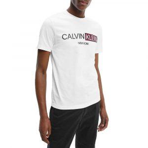 חולצת T קלווין קליין לגברים Calvin Klein Contrast Graphic - לבן