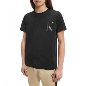 חולצת T קלווין קליין לגברים Calvin Klein Leather Monogram - שחור