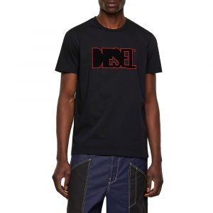 חולצת T דיזל לגברים DIESEL Fleece Patch - שחור