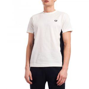 חולצת T פרד פרי לגברים FRED PERRY Twin Tipped Panel - לבן