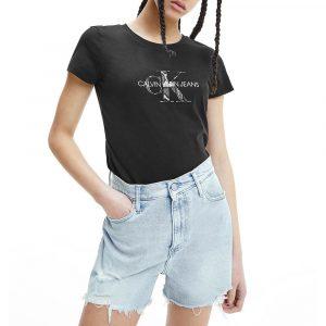 חולצת T קלווין קליין לנשים Calvin Klein Seasonal Filled Mono - שחור