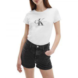 חולצת T קלווין קליין לנשים Calvin Klein Seasonal Filled Mono - לבן